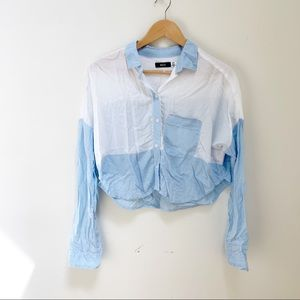 BDG Cropped Button-down Colorblock Blouse S